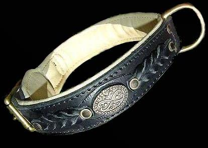 Leather dog collar for Bulldog ,bullterrier,amstaff,rottweiler and more breeds