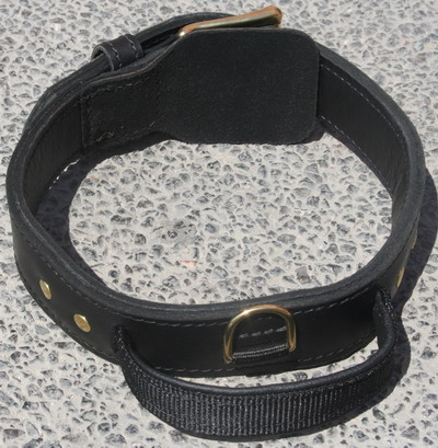 Leather Working Dog Collar for Am.Bulldog - 2 ply leather collar