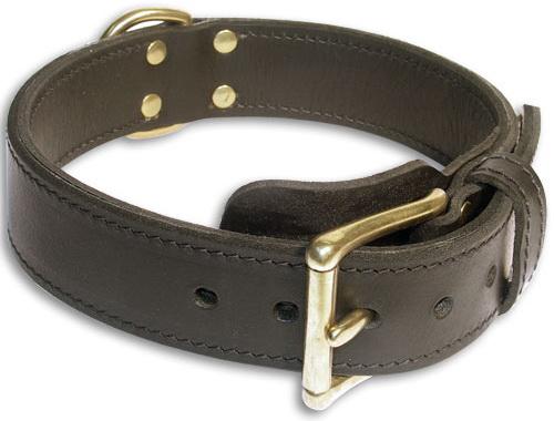 Bulldog Leather Black dog collar 19 inch/19'' collar - c33nh