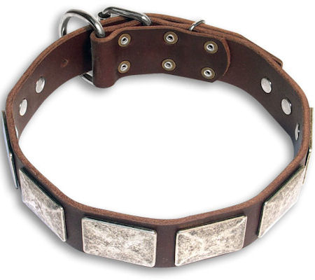 Handmade Bulldog Brown dog collar 18 inch/18'' collar - c83