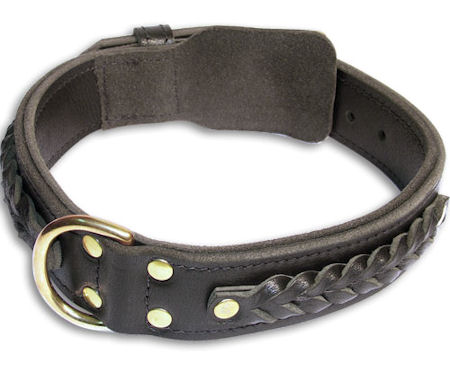 Bulldog Braided Black dog collar 20 inch/20'' collar -C55s33