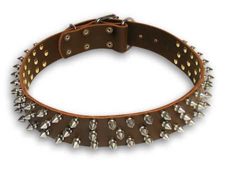 Leather Spike Brown collar 25'' for Bulldog /25 inch dog collar - S44