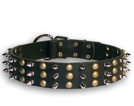 Leather Studded and Spiked Black collar 27'' for Bulldog /27 inch dog collar-S59