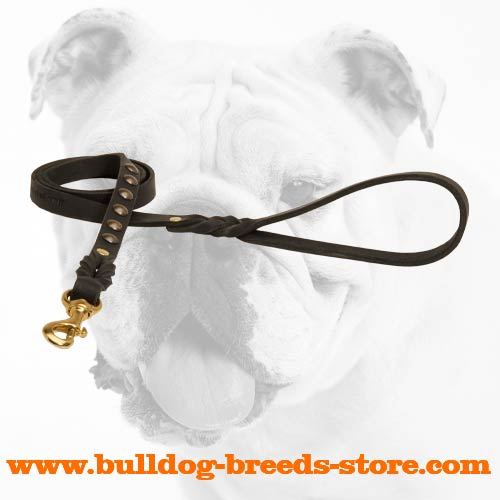 Top Quality Studded Leather Bulldog Lead