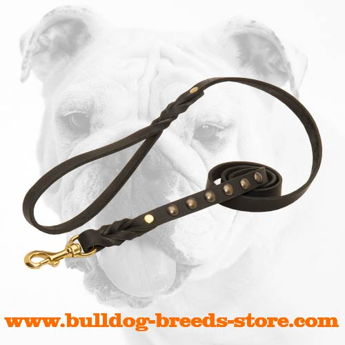 Studded Walking Leather Bulldog Leash