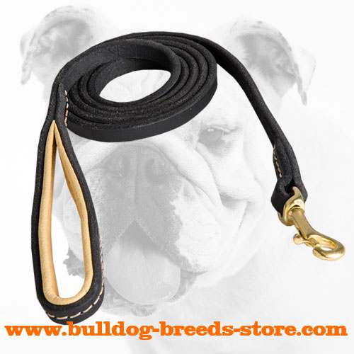 Stitched Leather Bulldog Leash for Walking