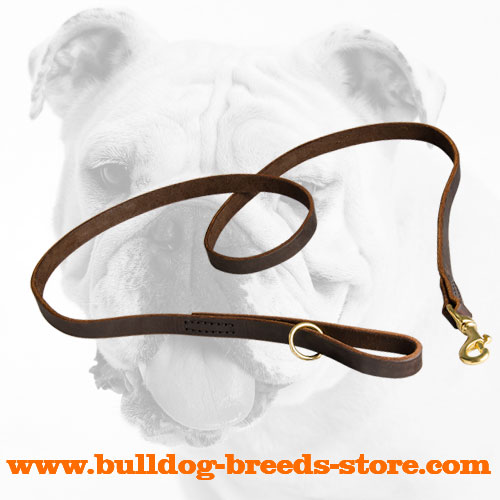 Softly Stitched Hand-Made Leather Bulldog Leash