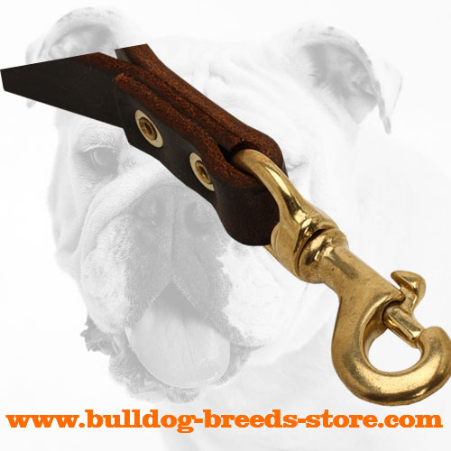 Strong Snap Hook On Training Short Leather Bulldog Leash