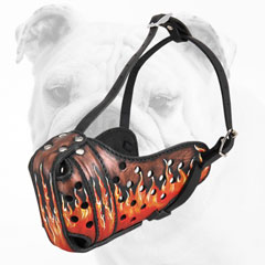 Padded Walking Leather Bulldog Muzzle with Flames