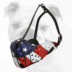 Strong Painted Leather American Bulldog Muzzle