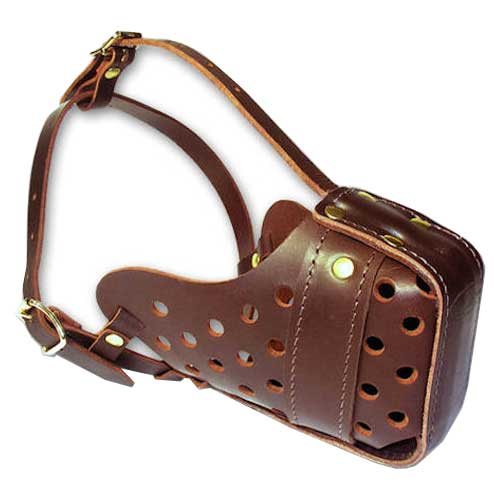 Leather Bulldog Muzzle with Large Holes