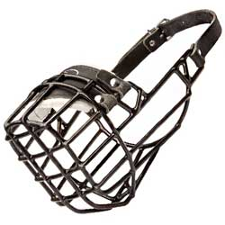 Winter Wire Cage Bulldog Muzzle with Leather Straps