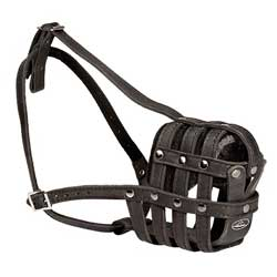 Strong Free Breathing Leather Bulldog Muzzle