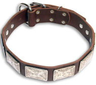 Leather Brown collar 25'' for Bulldog /25 inch dog collar -c83
