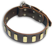 Leather Brown collar 26'' for Bulldog /26 inch dog collar - S33p