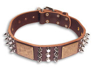 Leather Brown collar 25'' for Bulldog /25 inch dog collar-C86