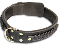 Leather Black collar 26'' for Bulldog /26 inch dog collar-C55s33